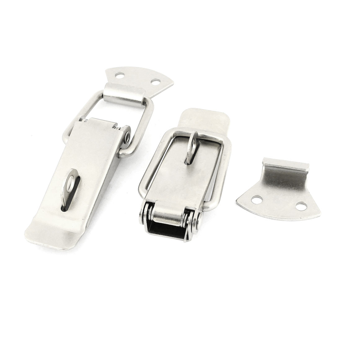 "Cabinet Security Lock Spring Loaded Stainless Steel Toggle Latch Hasp 4.1"" 2sets"
