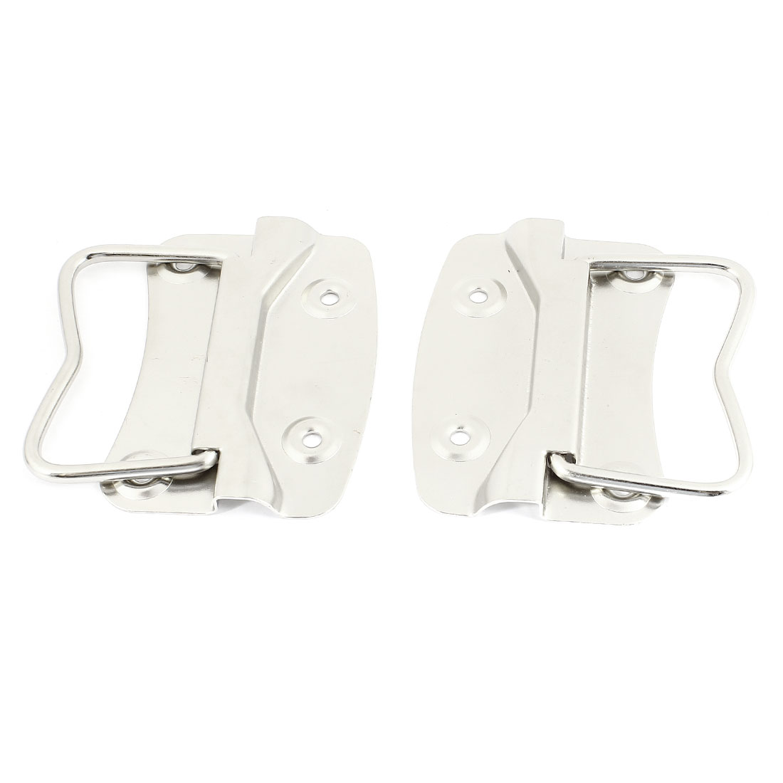 2 Pcs Silver Tone Folding Style 10 x 6.5cm Mounting Plates Pull Handle