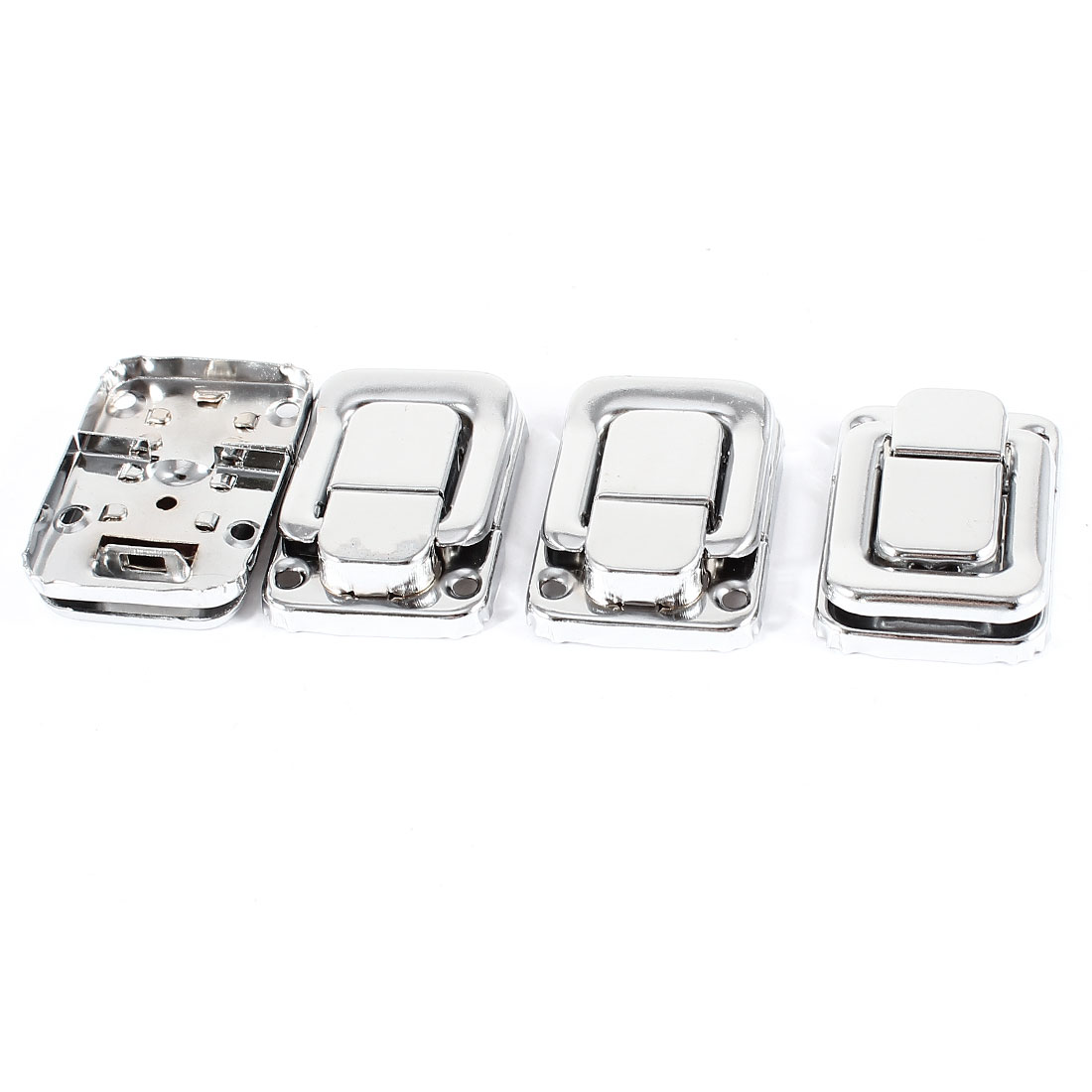 Cases Boxes Chest Silver Tone Spring Loaded Toggle Catch Lacth 4pcs