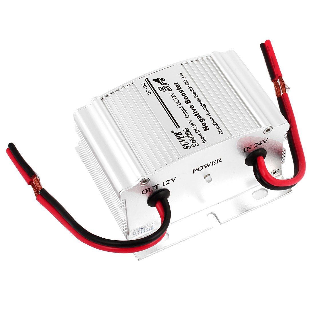 5A DC 24V to DC 12V Negative Booster Electric Car Auto Power Inverter Silver Tone