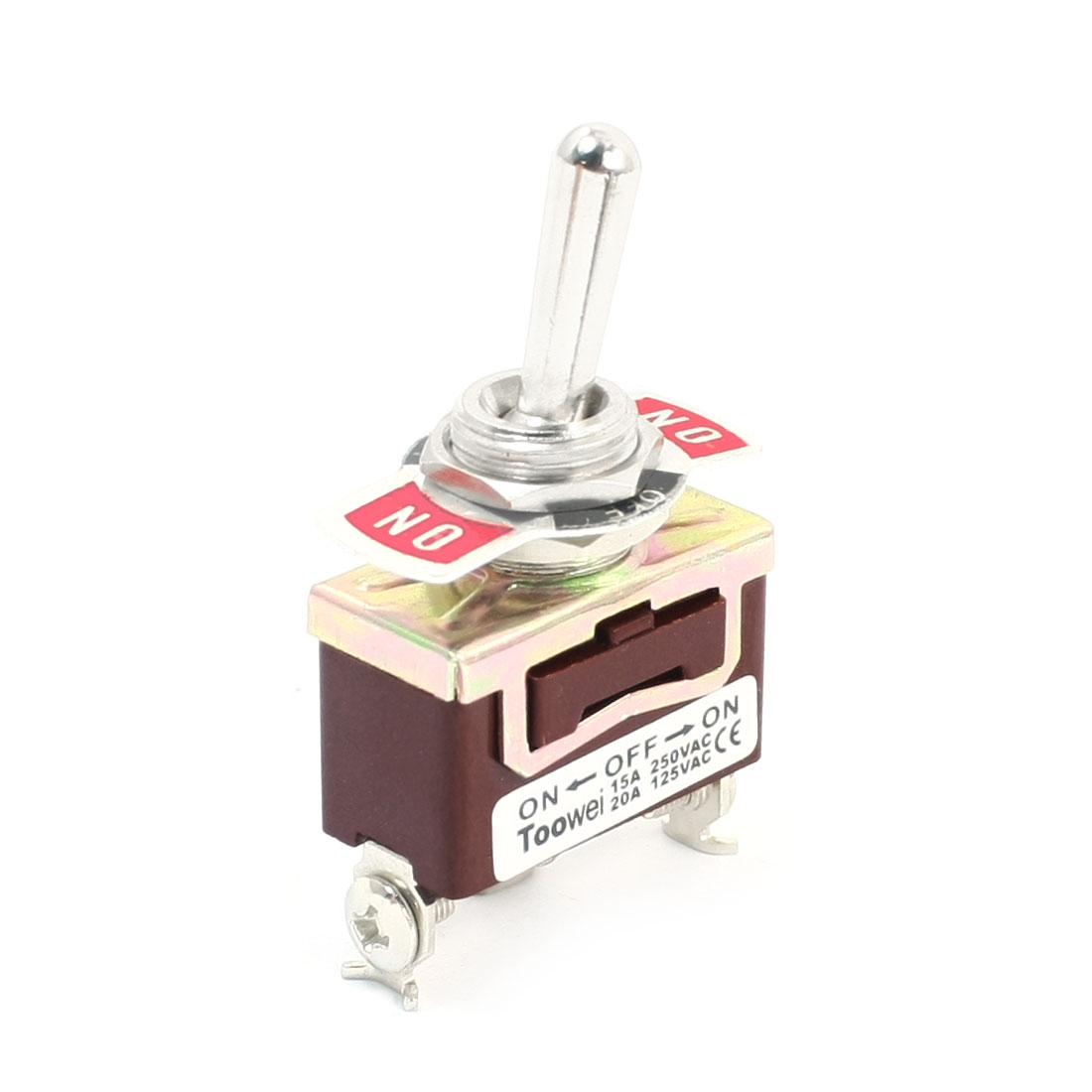 12mm Dia Panel Mounted SPDT ON-OFF-ON Locking Toggle Switch AC 250V 15A T701CW