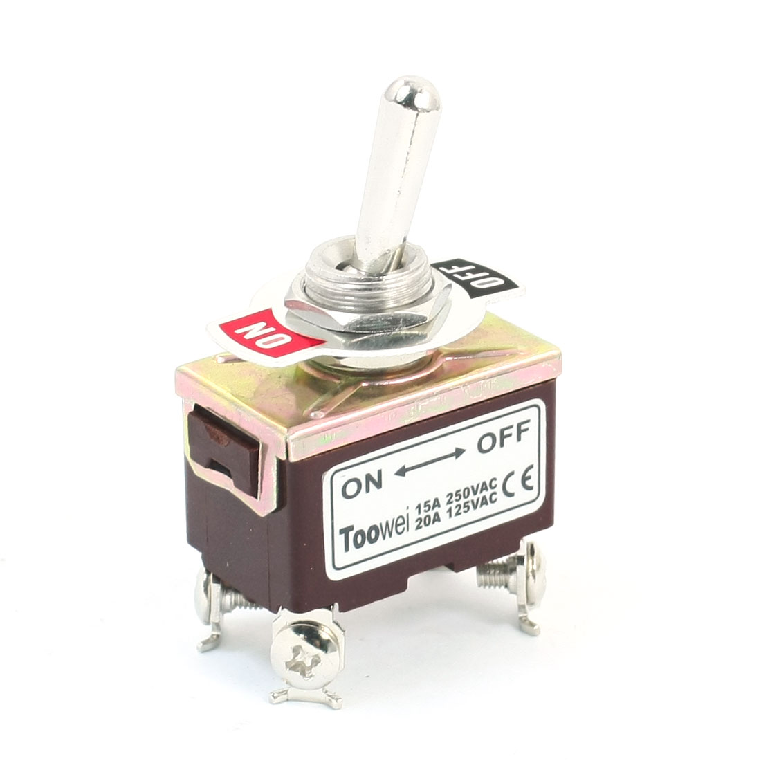 12mm Panel Mounted DPST ON/OFF Latching Toggle Switch AC 250V 15A T702AW