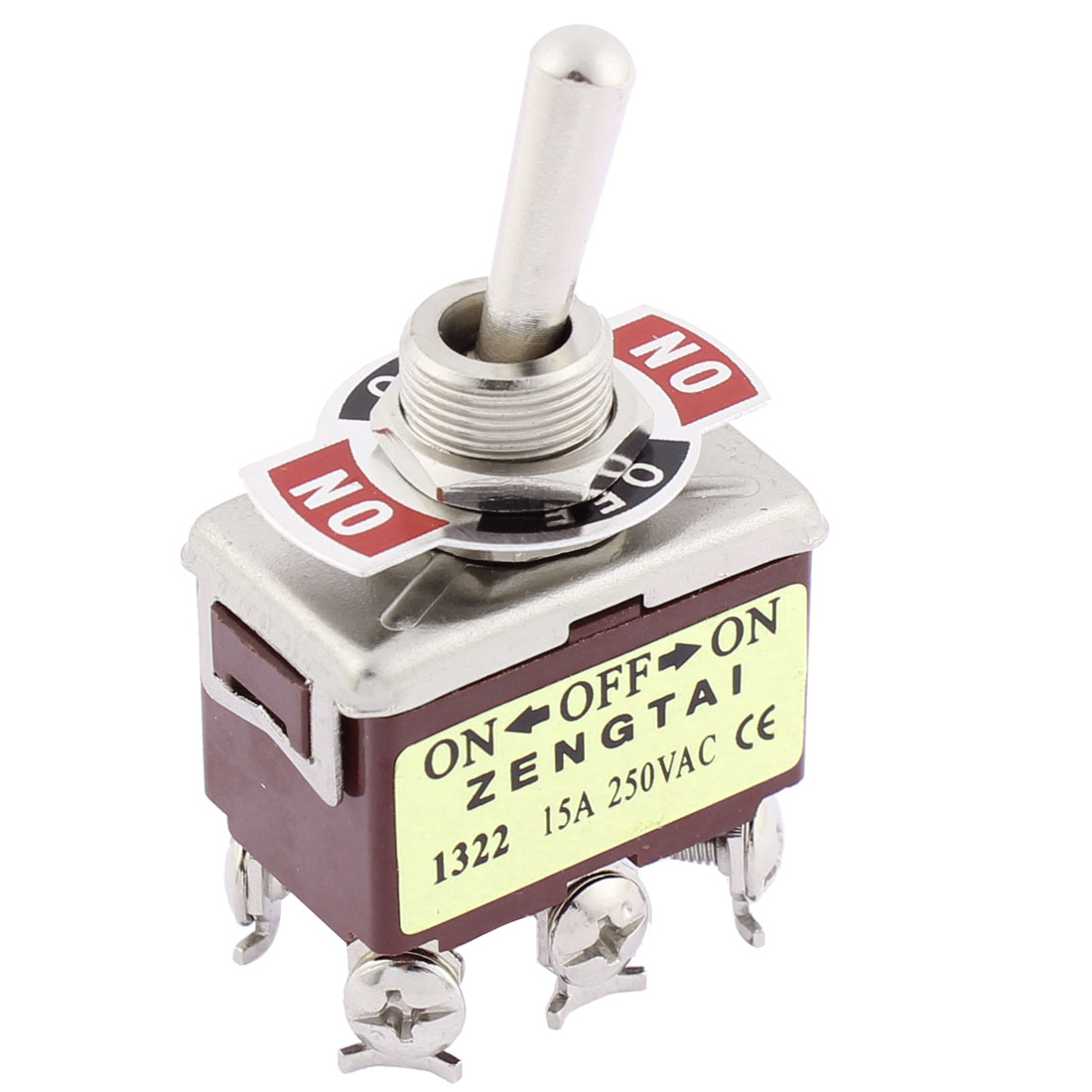 AC 250V 15A DPDT ON/OFF/ON 3 Position Self Locking Toggle Switch T702CW