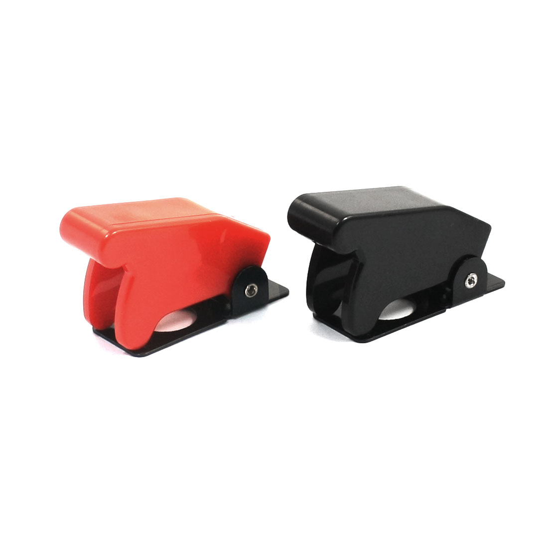 2pcs Red Black Plastic Toggle Switch Safety Cover Flip Guard 12mm T700