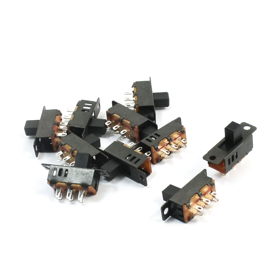 10Pcs DPDT 3-Position 6 Pin Miniature Horizontal Sliding Slide Switch
