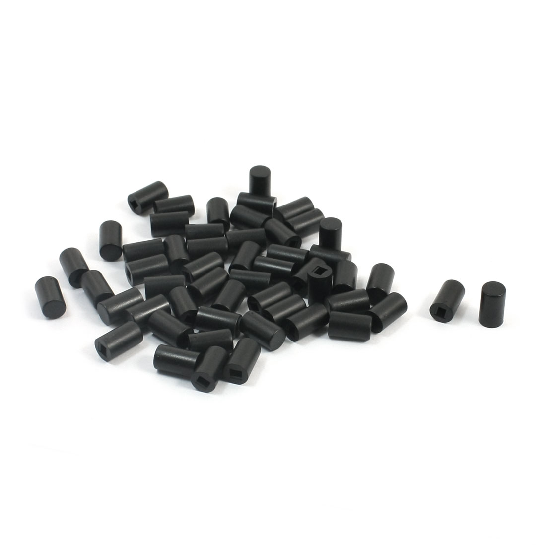 55 Pcs Round Micro Tactile Pushbutton Caps Keycaps Covers Protector Black 6x10mm