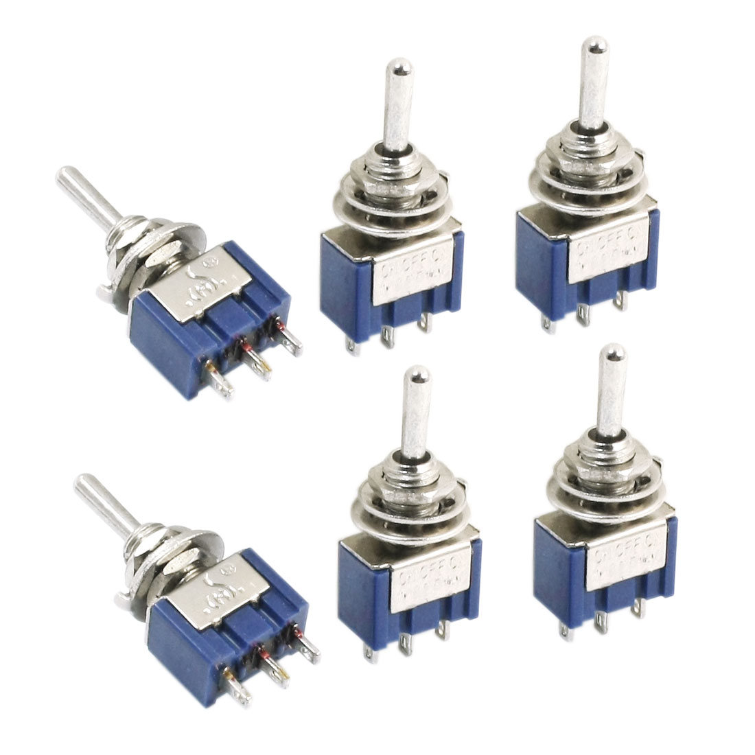 6Pcs Blue Three Positions 3-Pin SPDT ON-OFF-ON Mini Toggle Switch 6A AC125V
