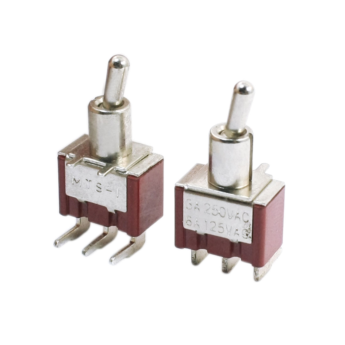 2Pcs Red 2 Positions Three 90 Degree Pin SPDT ON-ON Mini Toggle Switch 6A AC125V 3A AC250V