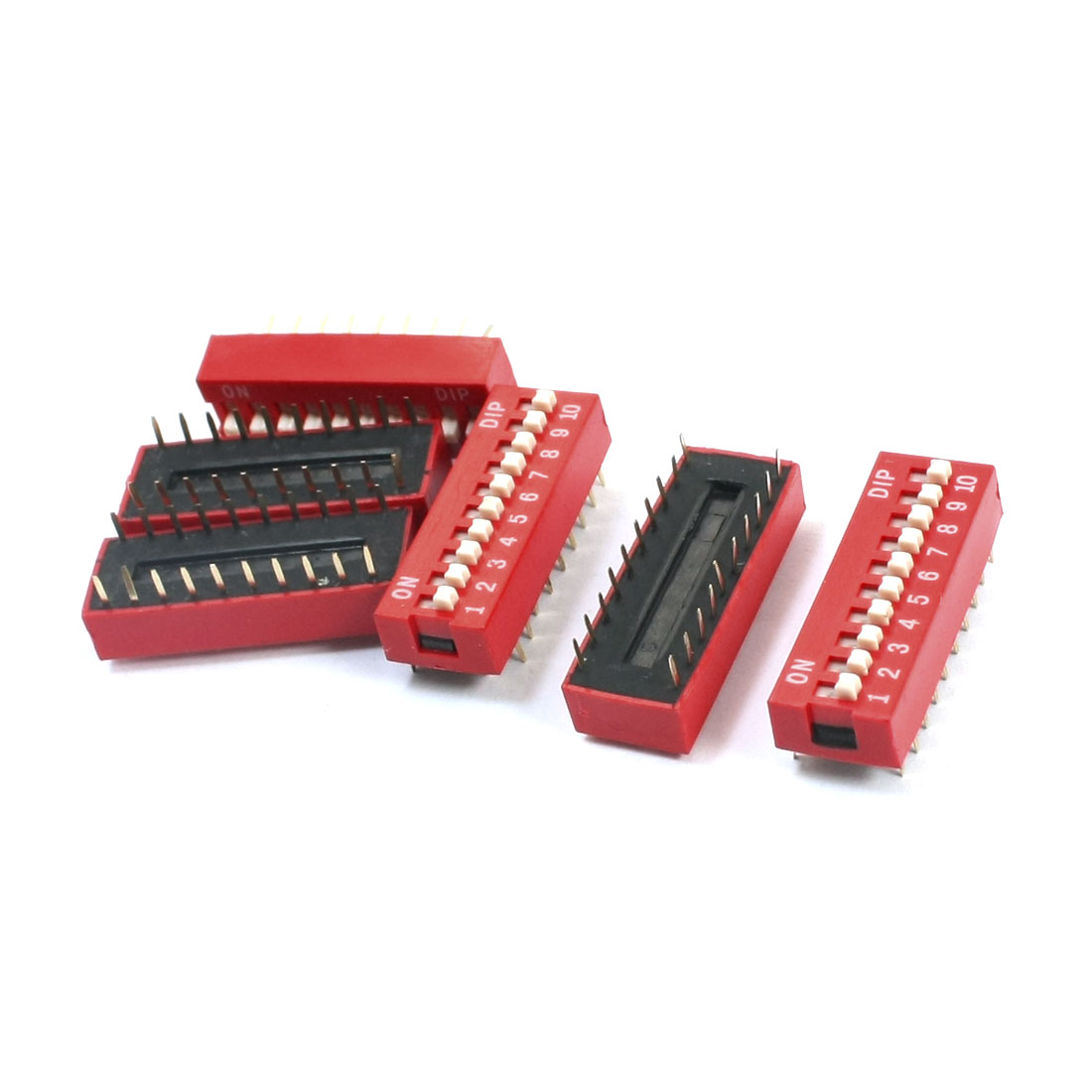 6Pcs Red Slide Type 2 Row 20 Pin Terminals 10 Positions 2.54mm Pitch DIP Key Switch