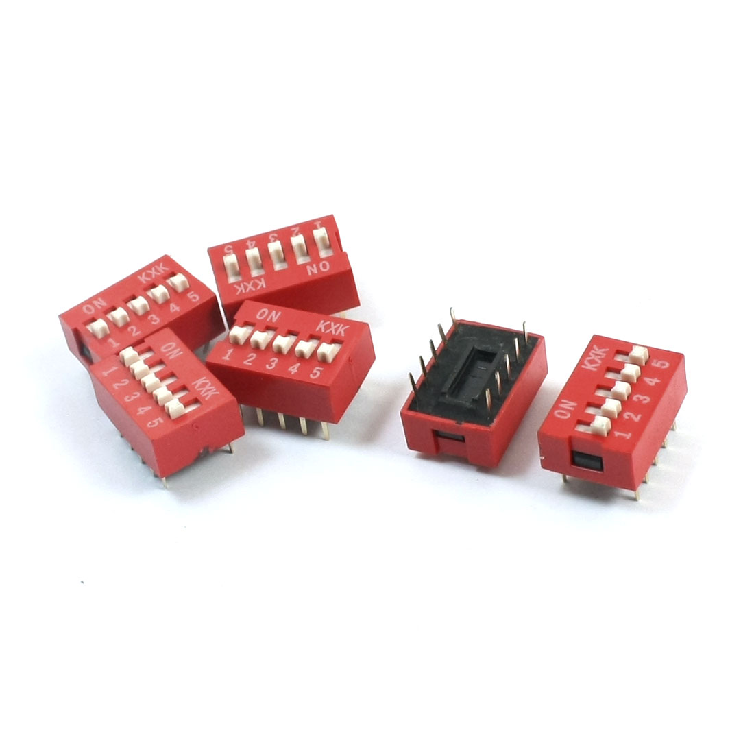 6Pcs Red Slide Type 2 Row 10 Pin Terminals 5 Positions 2.54mm Pitch DIP Key Switch