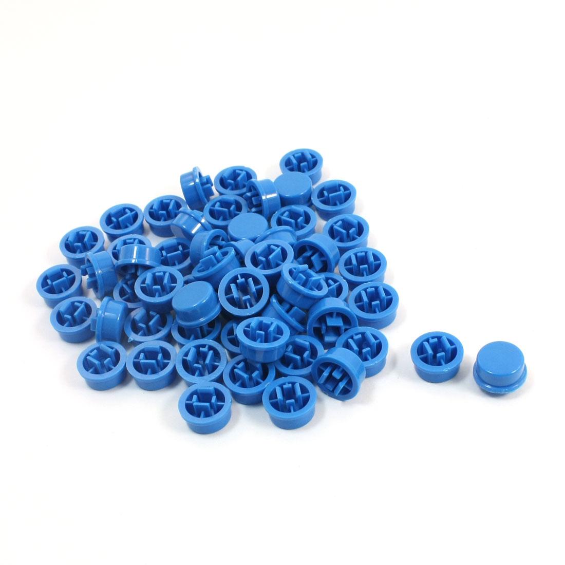55Pcs 12x12x7.3mm Tactile Push Button Switch Blue Plastic Round Cap