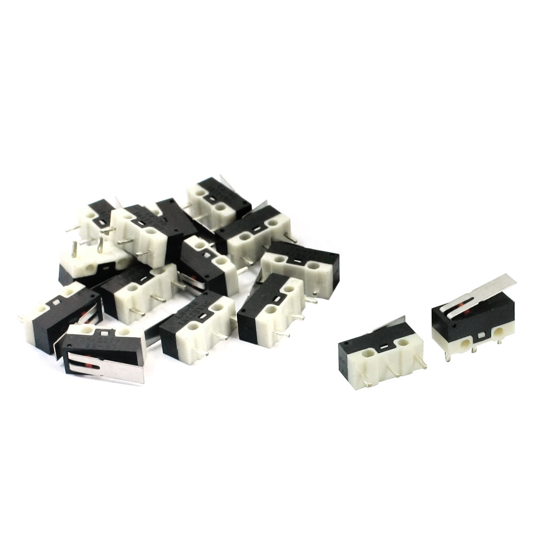 15Pcs AC125V 1A 3 Terminals SPDT Straight Hinge Lever Momentary Miniature Micro Switch