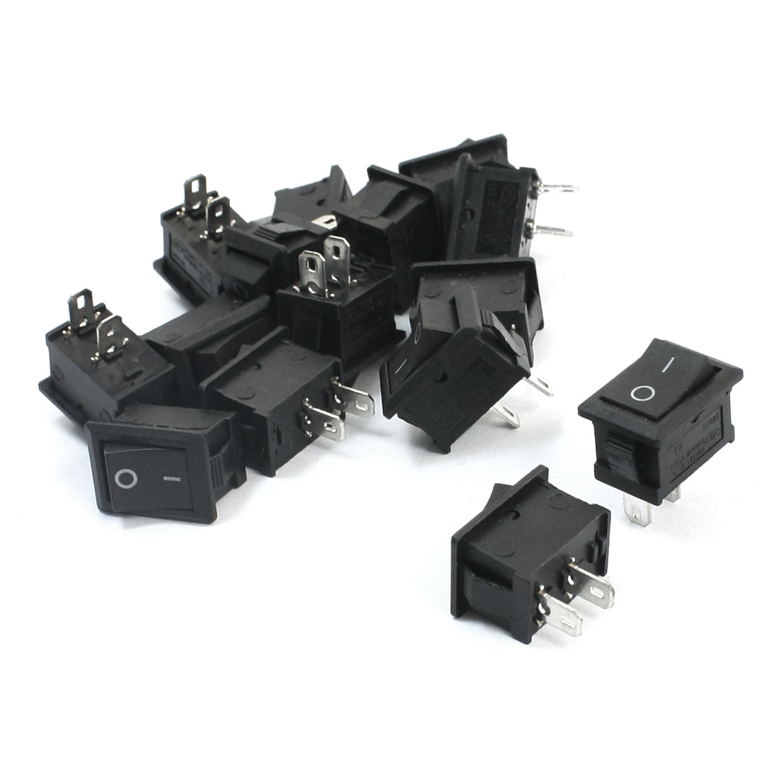 15Pcs SPST 2 Position ON/OFF 2 Soldering Pin Snap In Black Button Rectangle Boat Rocker Switch AC250V 6A AC125V 10A 15mmx21mm