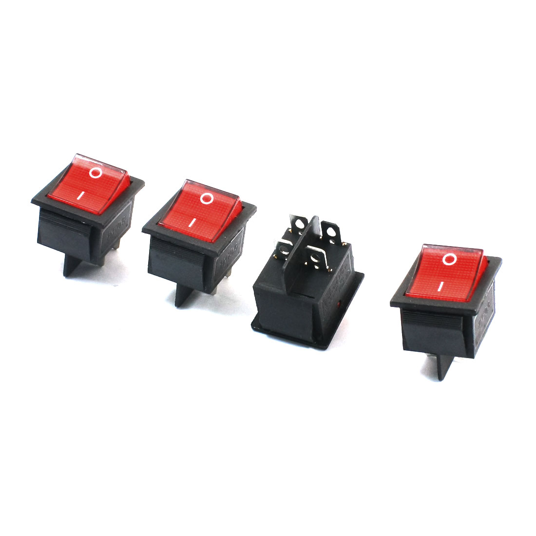 4Pcs Red Light Two Positions AC 250V 16A AC 125V 20A DTST 4 Pins Panel Mounting Power Boat Rocker Switch