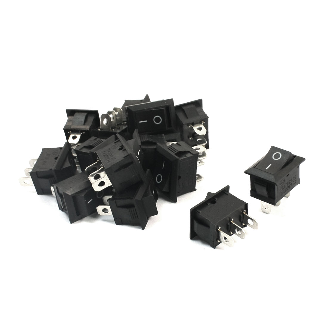 15Pcs SPDT 2 Position ON/OFF 3 Soldering Pin Snap In Black Button Rectangle Boat Rocker Switch AC250V 6A AC125V 10A 15mmx21mm