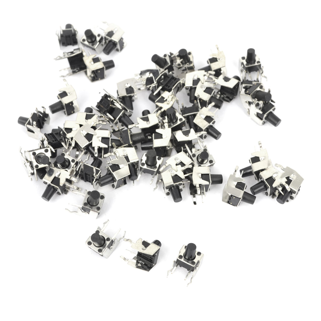 55Pcs Momentary PCB Side Mounting Fixed Bracket Pushbutton Push Button Tact Tactile Switch DIP 2 Terminals 6mmx6mmx8mm