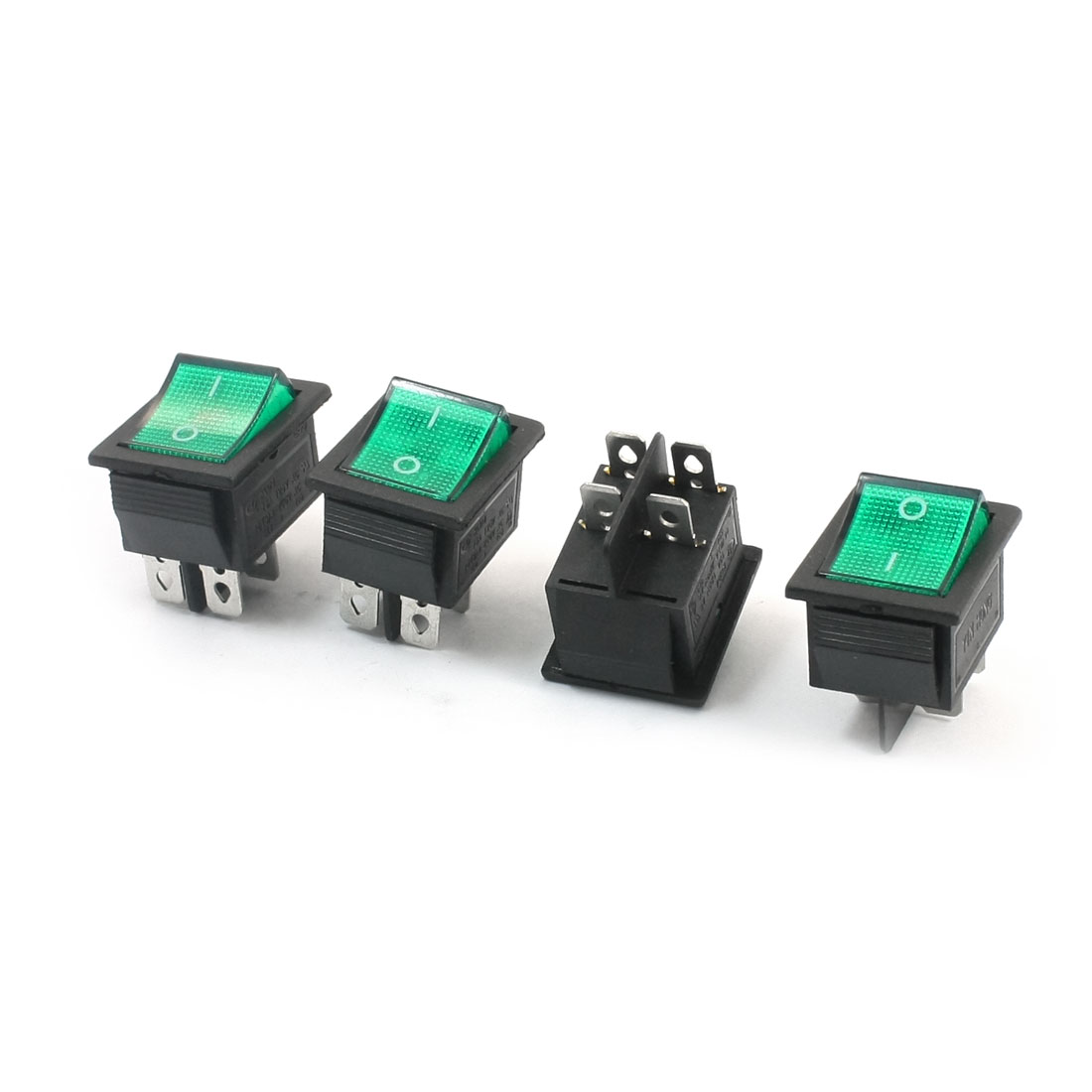 4Pcs Green Light Two Positions AC 250V 16A AC 125V 15A DPST 4 Pins Panel Mounting Power Boat Rocker Switch