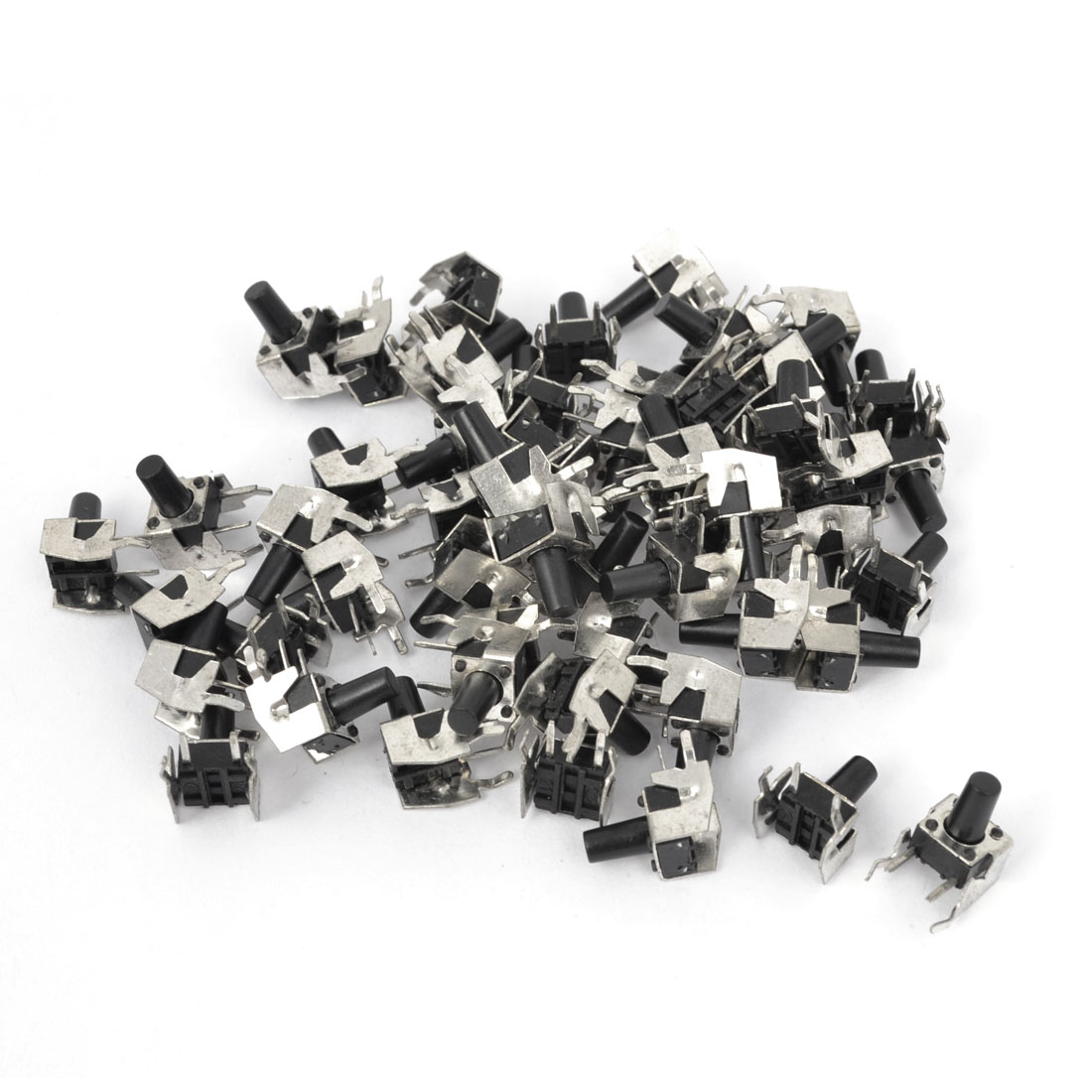 55Pcs Momentary PCB Side Mounting Fixed Bracket Pushbutton Push Button Tact Tactile Switch DIP 2 Terminals 6mmx6mmx9.5mm