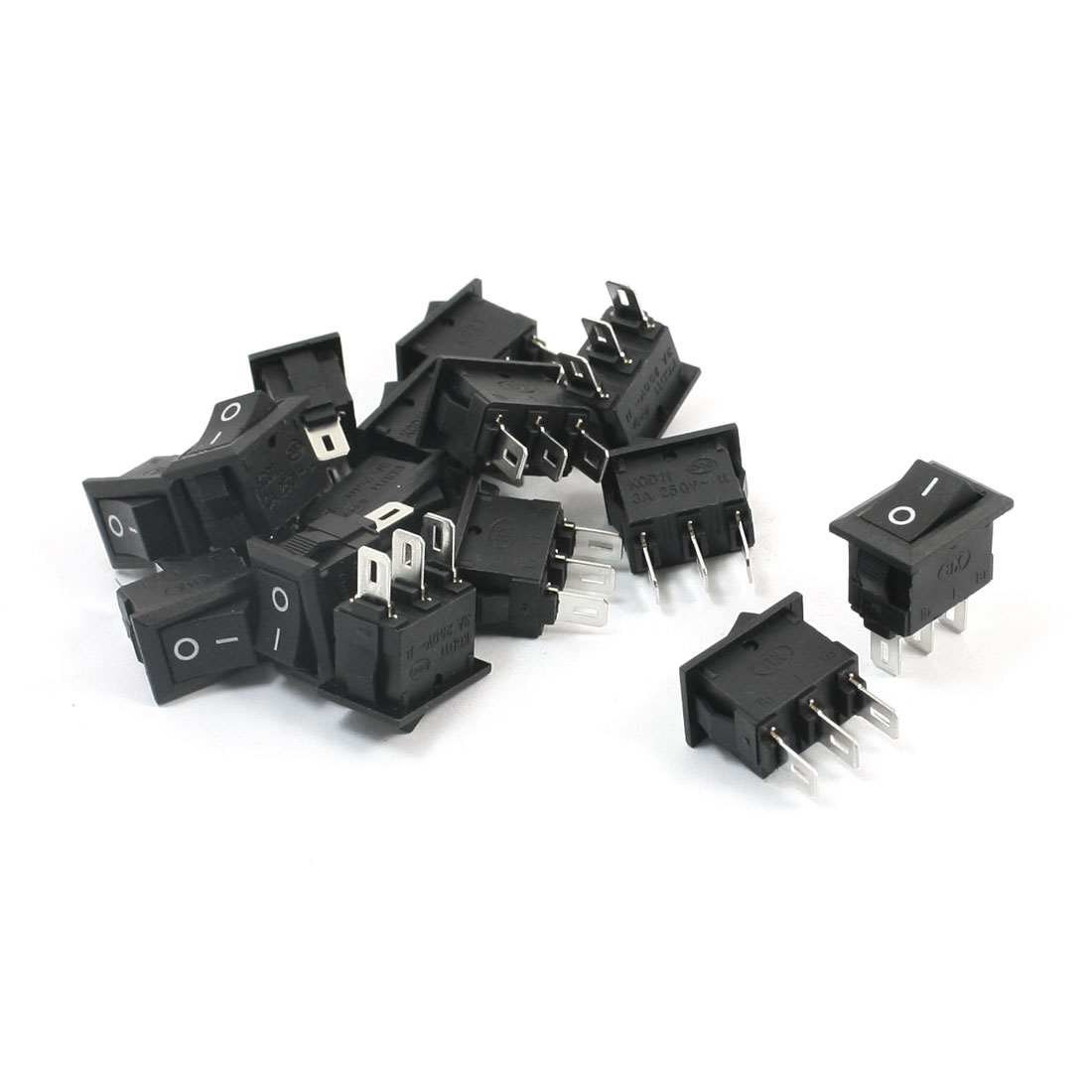 15Pcs SPDT 2 Position ON/OFF 3 Soldering Pin Snap In Black Button Square Boat Rocker Switch AC250V 3A 10mmx15mm