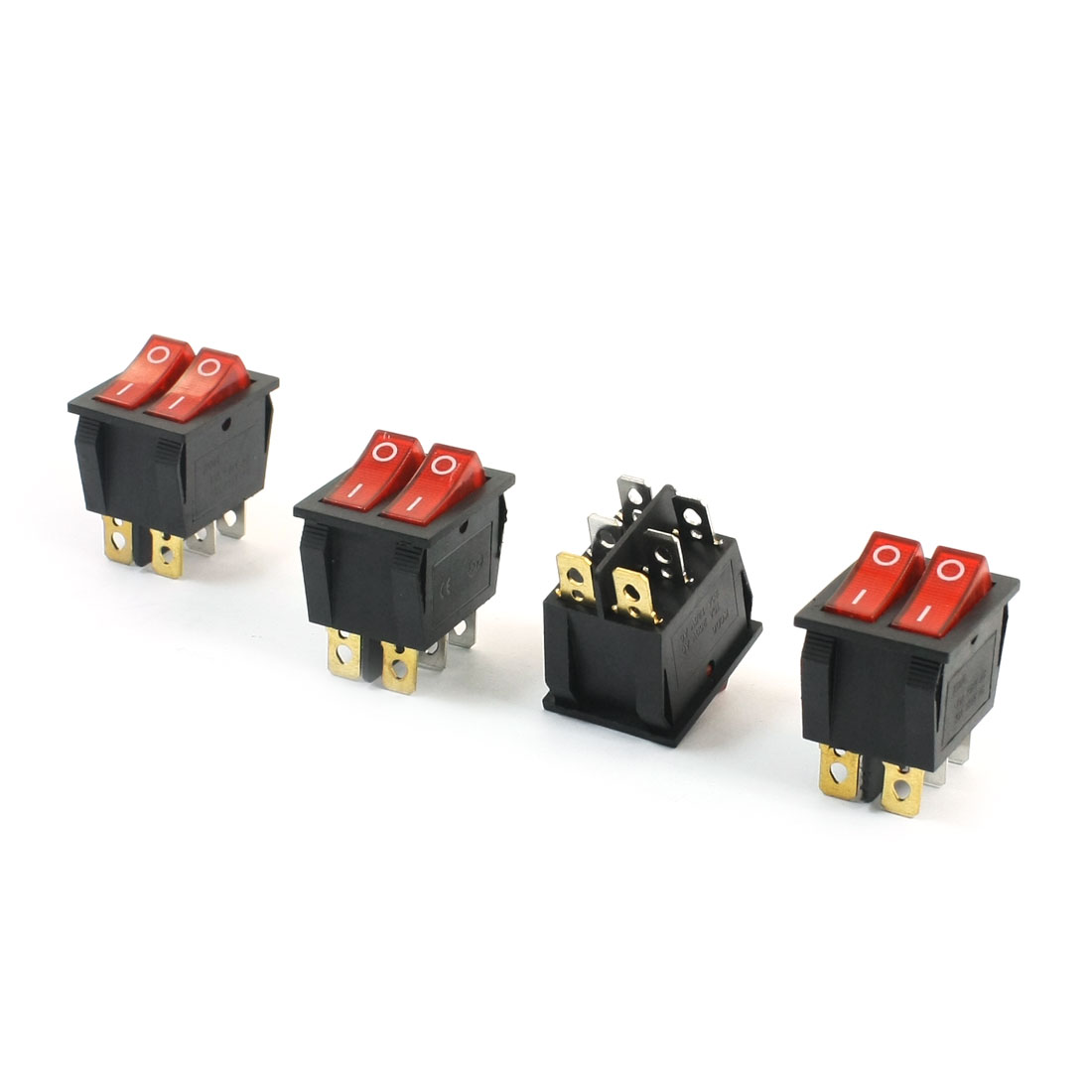 4Pcs Red Light Two Positions AC 250V 15A AC 125V 20A 6 Pins Panel Mounting Dual SPST Power Boat Rocker Switch