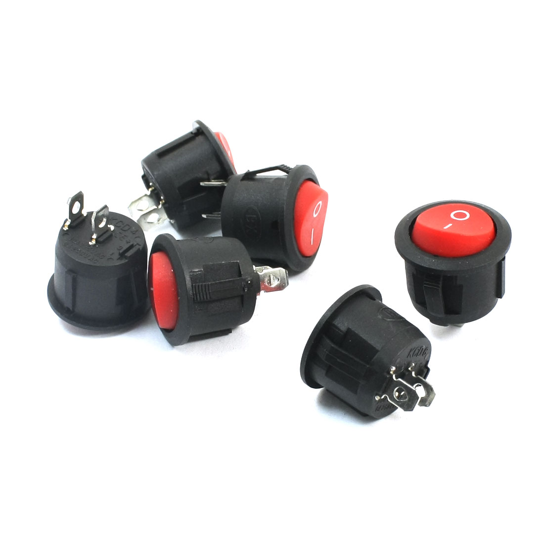 6Pcs SPST 2 Position ON/OFF 2 Soldering Pin Snap In Red Button Round Boat Rocker Switch AC250V 6A AC125V 10A