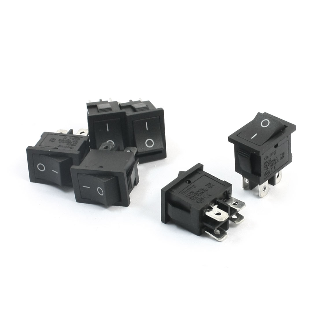 6Pcs DPST 2 Position ON/OFF 4 Soldering Pin Snap In Black Button Rectangle Boat Rocker Switch AC250V 6A AC125V 10A 15mmx21mm