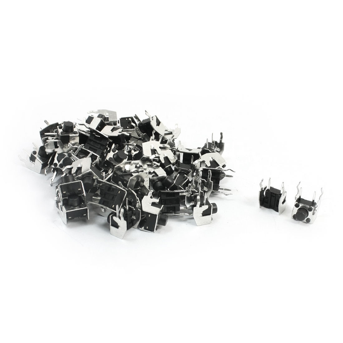 55Pcs Momentary PCB Side Mounting Fixed Bracket Pushbutton Push Button Tact Tactile Switch DIP 2 Terminals6mmx6mmx6mm