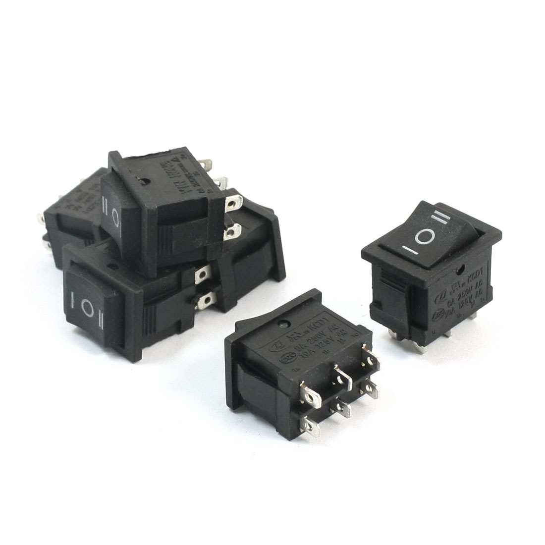 6Pcs Black Three Positions AC 250V 6A AC 125V 10A DPDT 6 Pins Panel Mounting Boat Rocker Switch