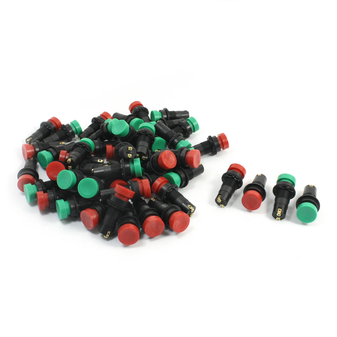 50Pcs DC 24V 2A SPST Round Head Black Base Panel Mounting 2 Screw Terminals Momentary Push Button Switches