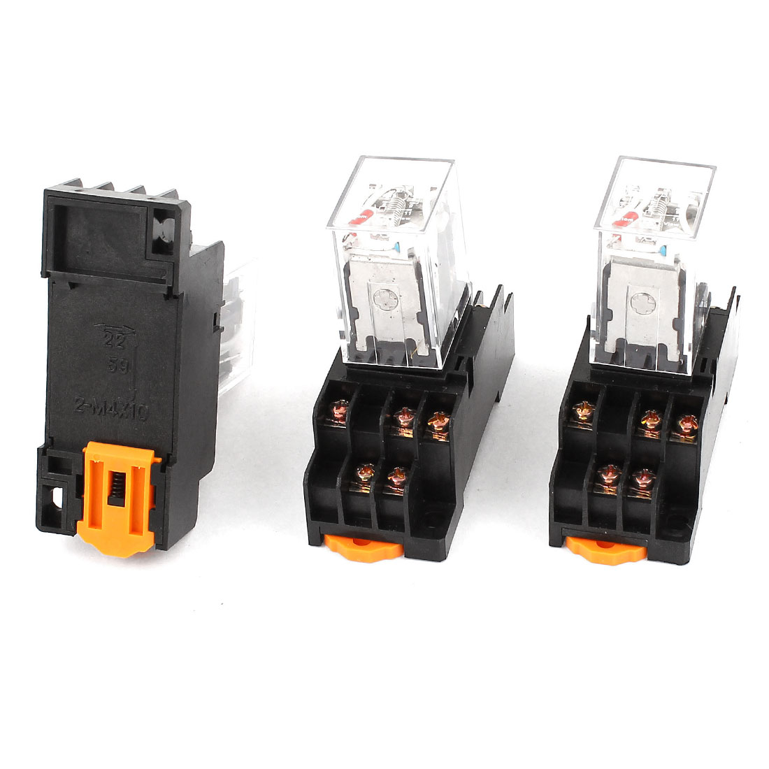 3 Pcs HH53PL AC 220-240V Coil Red Indicator Light 35mm DIN Rail 3PDT 11Pins Electromagnetic General Purpose Power Relay + Socket Base
