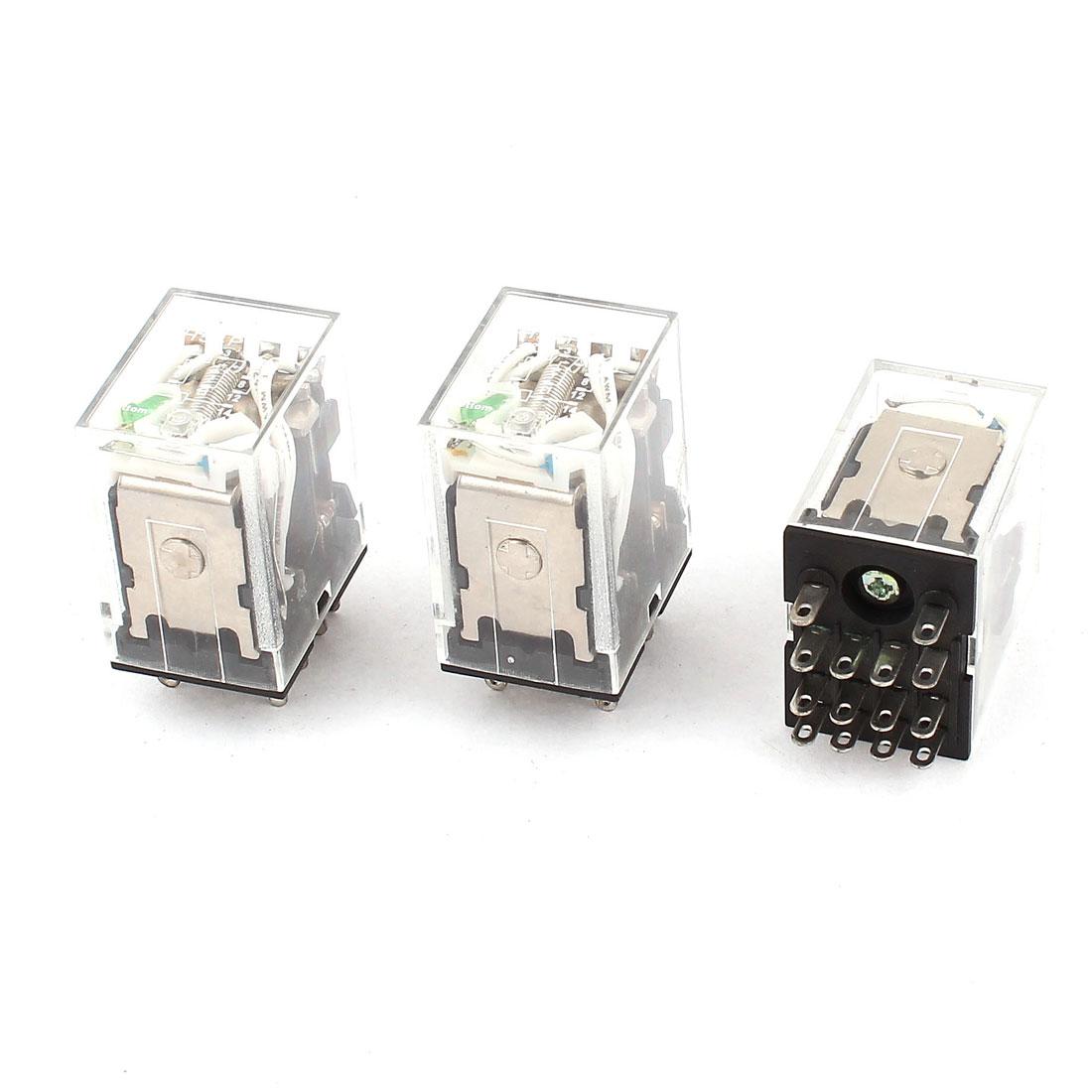 HH54PL 11Pins 3PDT DC 24V Coil Voltage Green LED Pilot Lamp Power Relay 3 Pieces