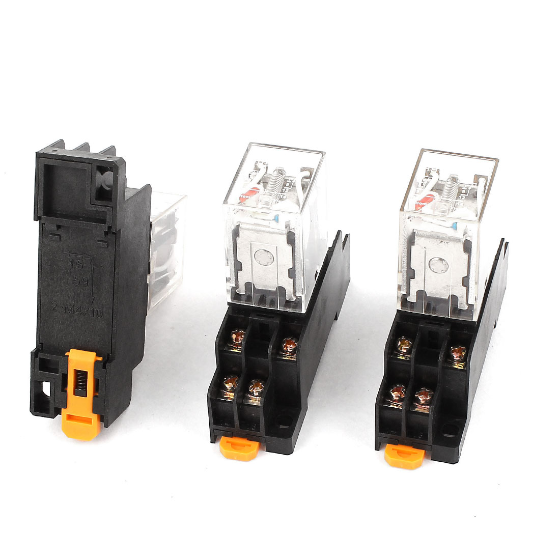 3 Pcs HH52PL AC 220-240V DPDT Red LED Light Electromagnetic Relay w Socket Base