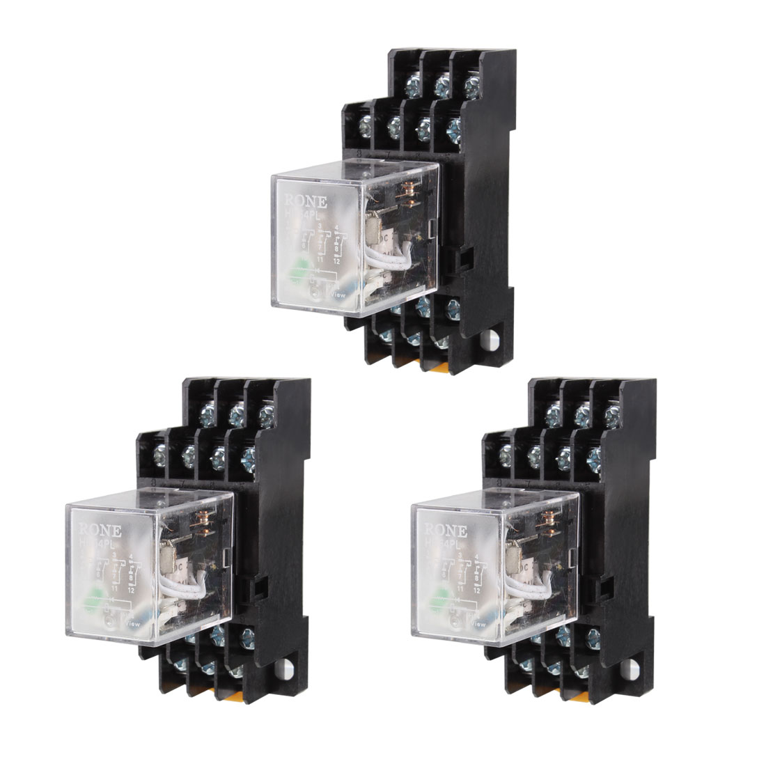 HH54PL DC 24V Coil 4PDT 14Pin 35mm DIN Rail Electromagnetic Power Relay 3 Pieces