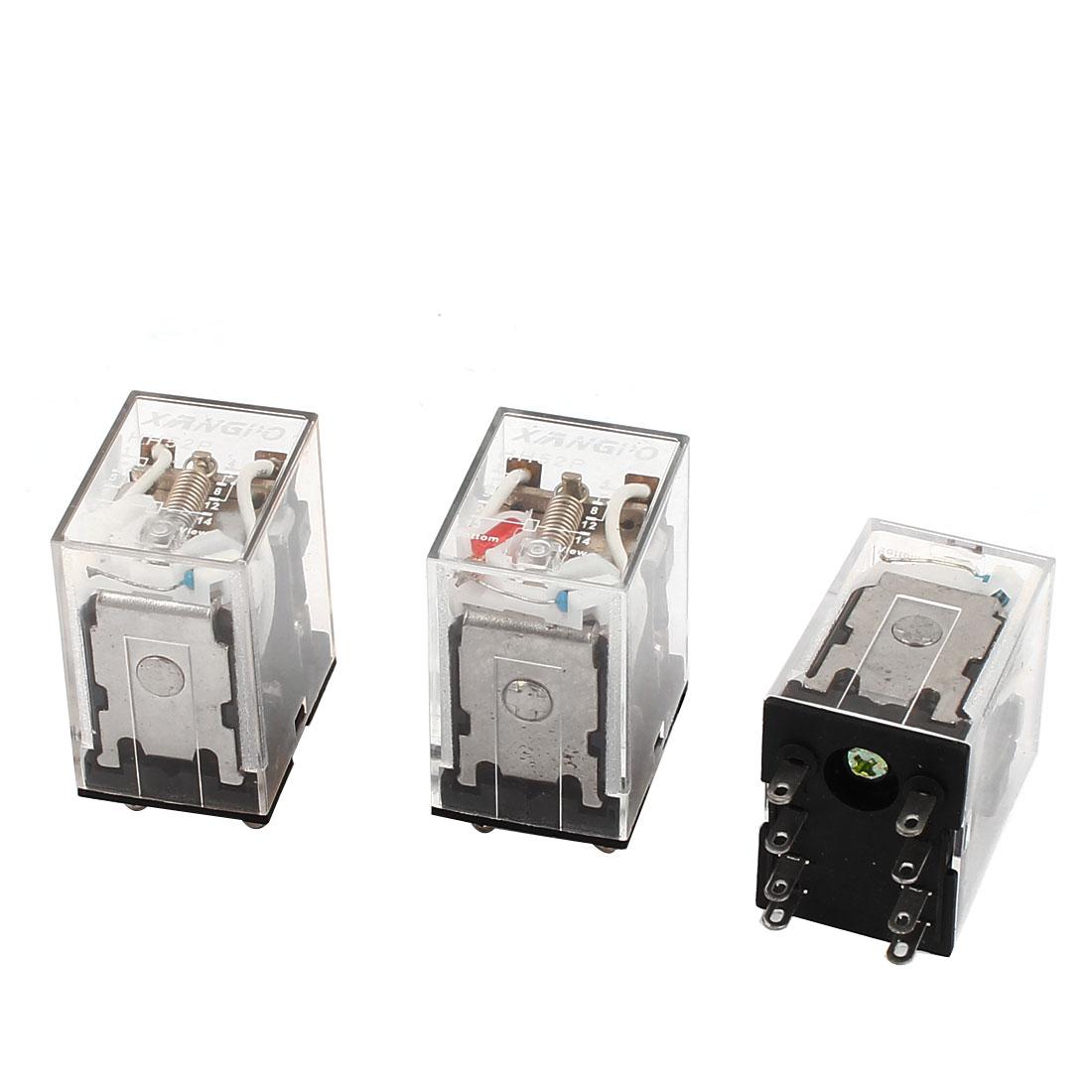 HH52PL 8Pins DPDT AC 220-240V Coil Voltage Red LED Pilot Light Power Relay 3 Pcs