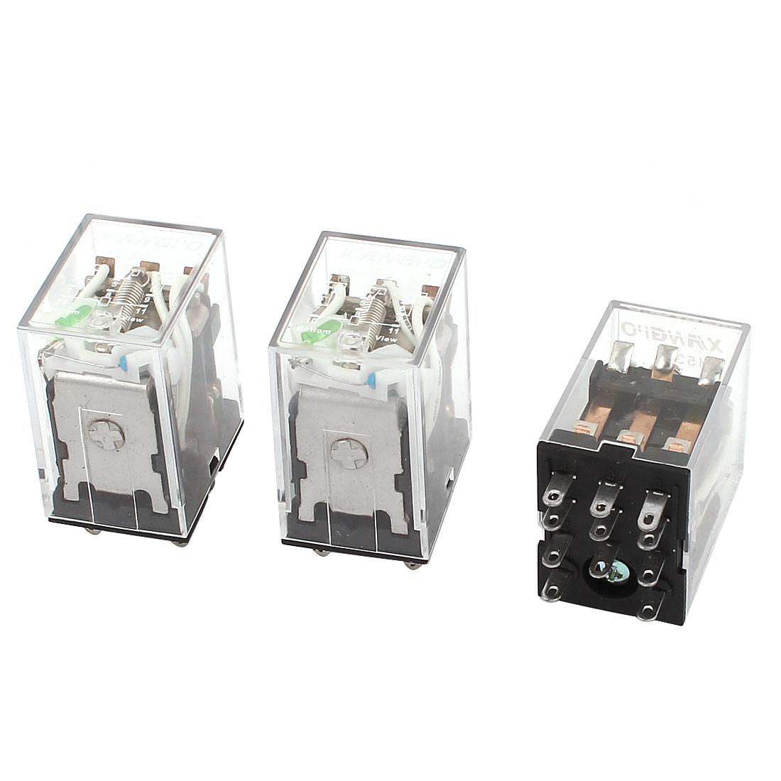 HH53PL 11Pins 3PDT DC 24V Coil Voltage Green LED Pilot Lamp Power Relay 3 Pieces