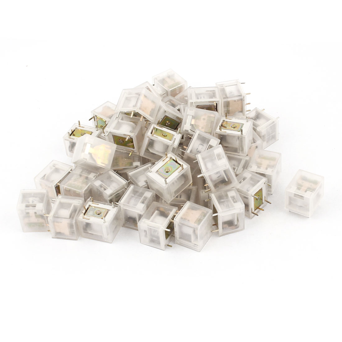 50 Pcs PCB Mounted DC 3V Coil Voltage 5 Pins Terminal Mini Electromagnetic Relay