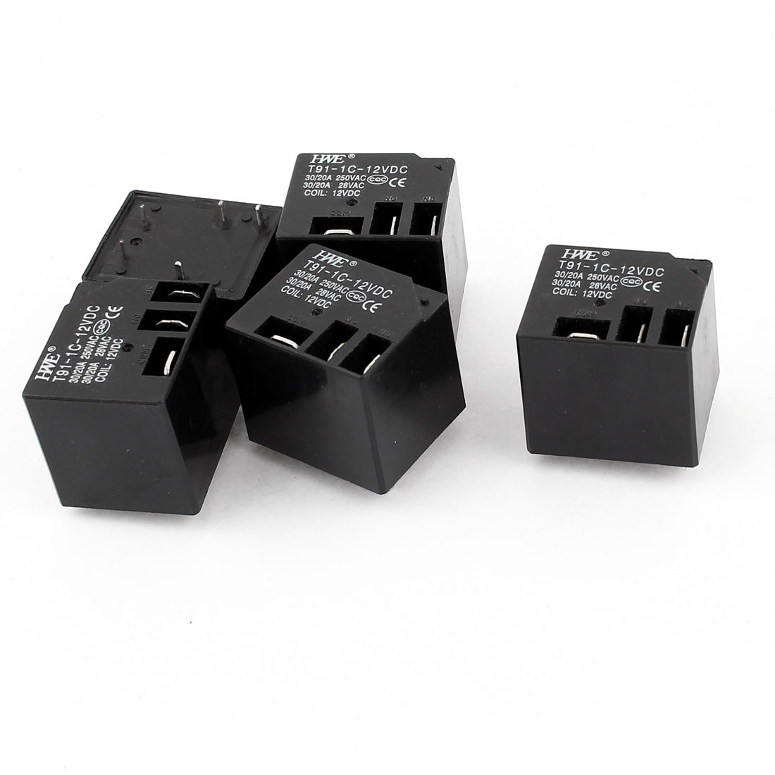 T91-1C-12VDC PCB Mount 5pin Electric Power Relay Black DC 12V Coil Voltage 5 Pcs