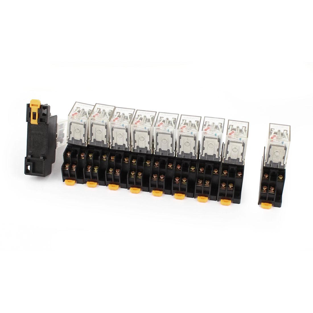 10 Pcs HH52PL AC 220-240V DPDT Red LED Light Electromagnetic Relay w Socket Base