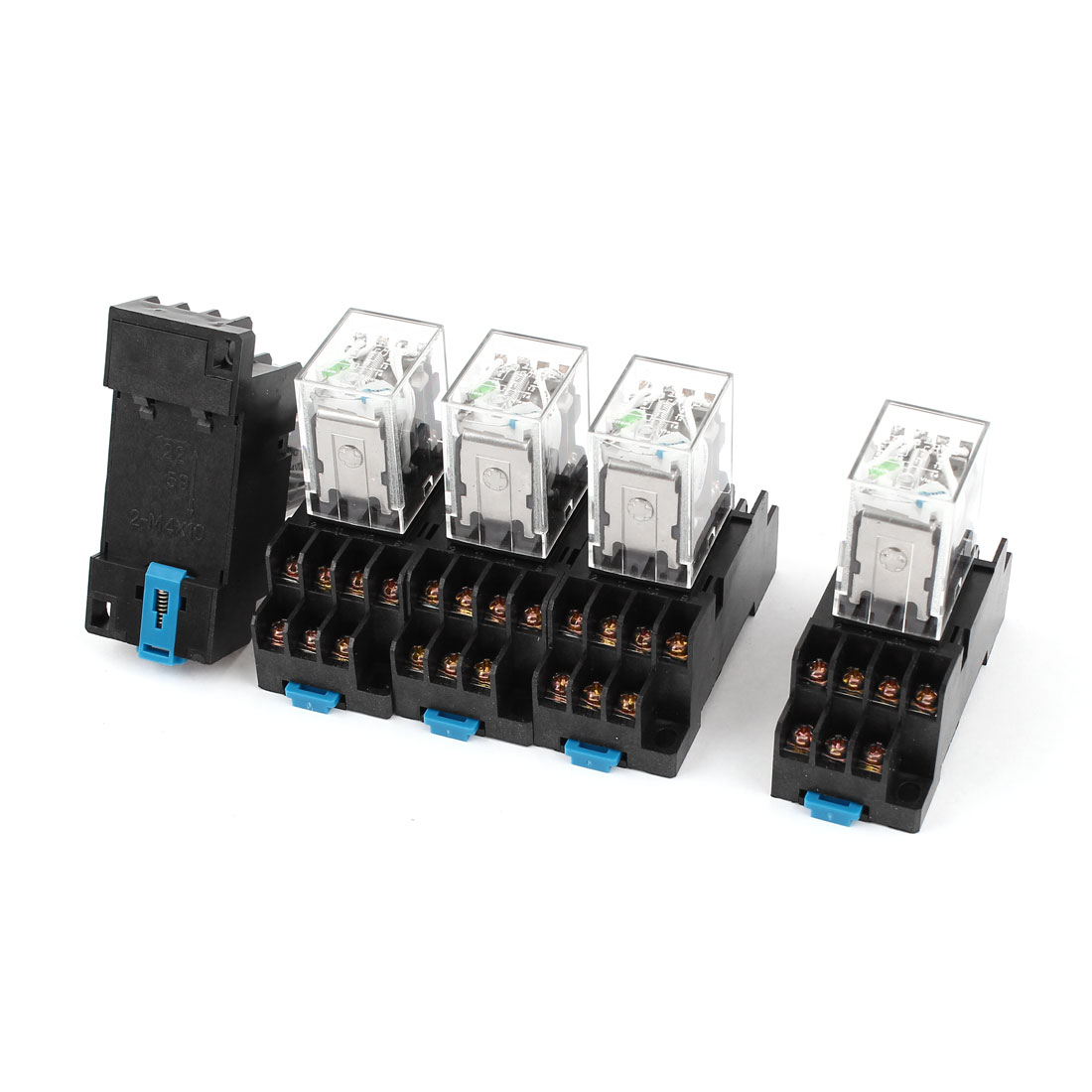 HH54PL DC 24V Coil 4PDT 14Pin 35mm DIN Rail Electromagnetic Power Relay 5 Pieces