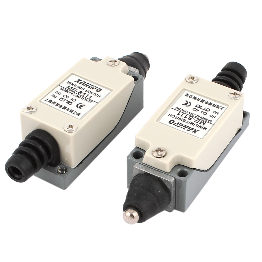 DC 115V 0.4A AC 250V 5A NO NC SPDT Momentary Push Plunger Limit Switch 2 Pieces