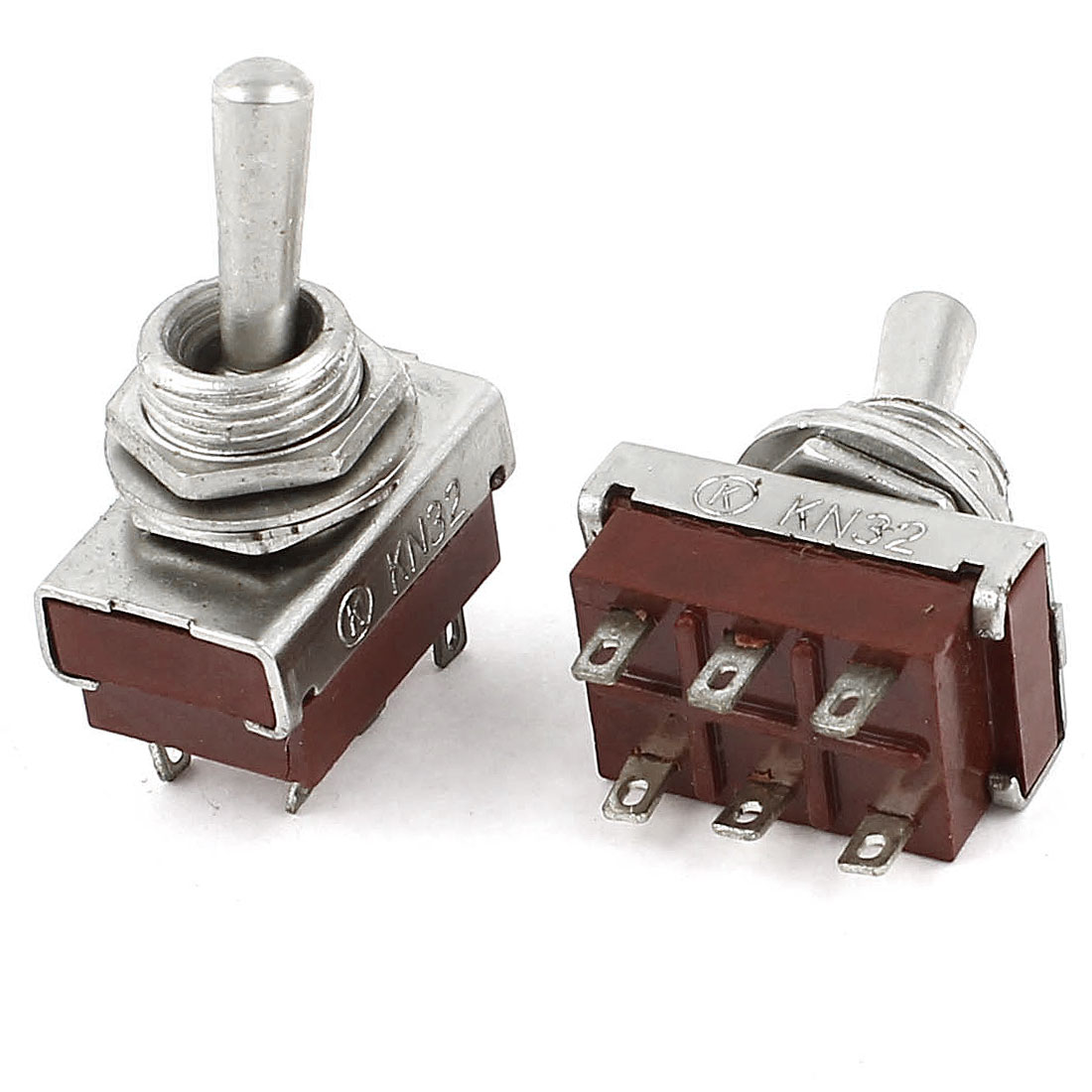2 Pcs 6 Pin Terminals DPDT 2 Positions On Off Toggle Switches AC 250V 5A
