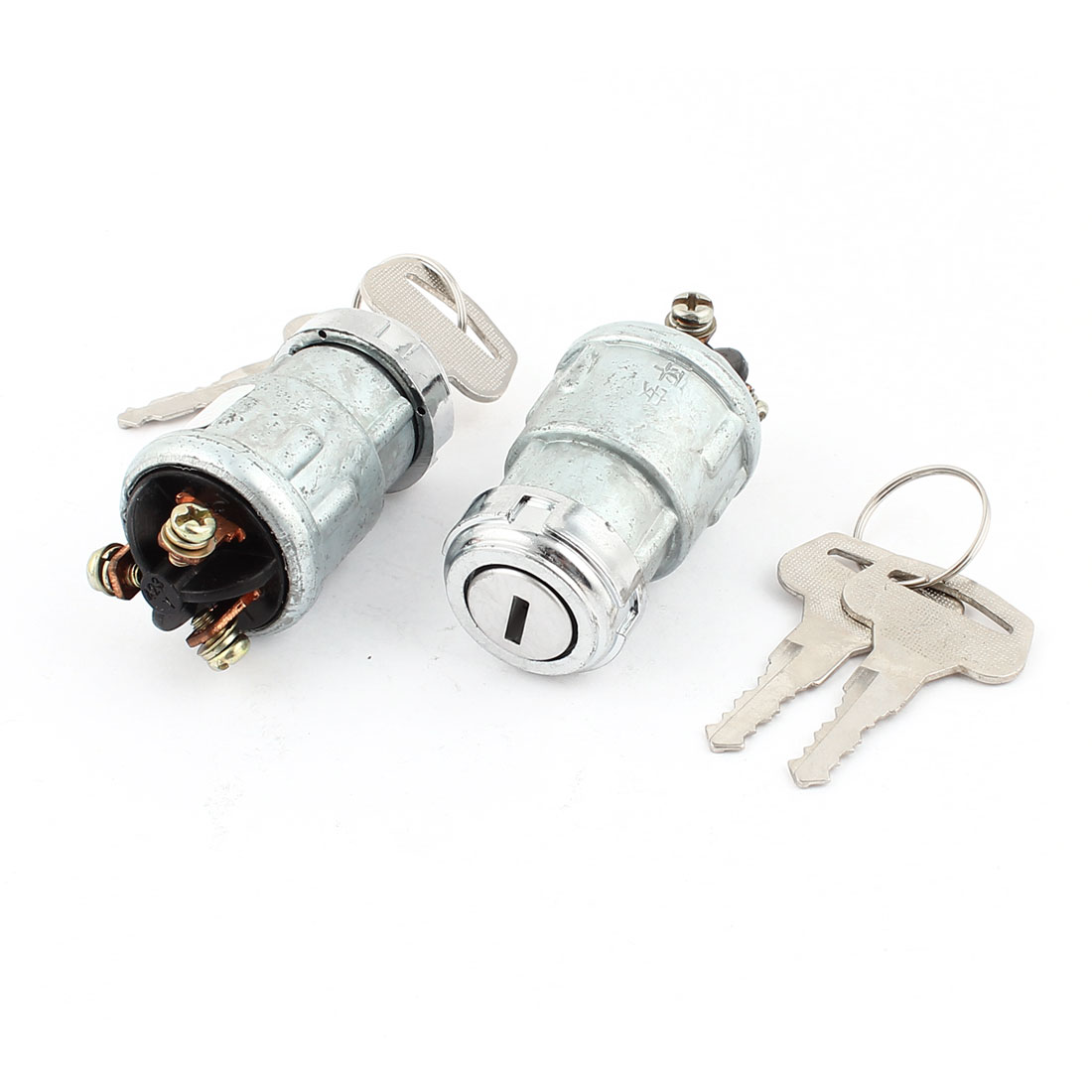 2 Pcs Silver Tone Metal SPST Lock Ignition Switch DC 12-60V 10A for Car Auto
