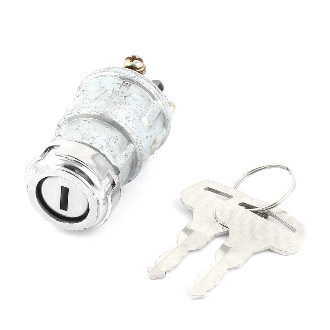 Silver Tone Metal SPST Lock Ignition Switch DC 12V-60V 10A for Car Auto