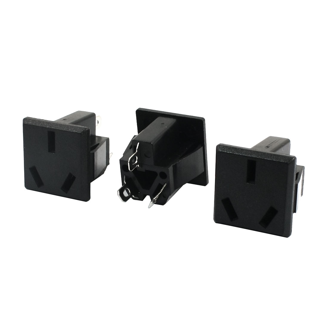 3Pcs AC 125V 15A 3 Pin AU Socket Panel Mounting Square Power Adapter