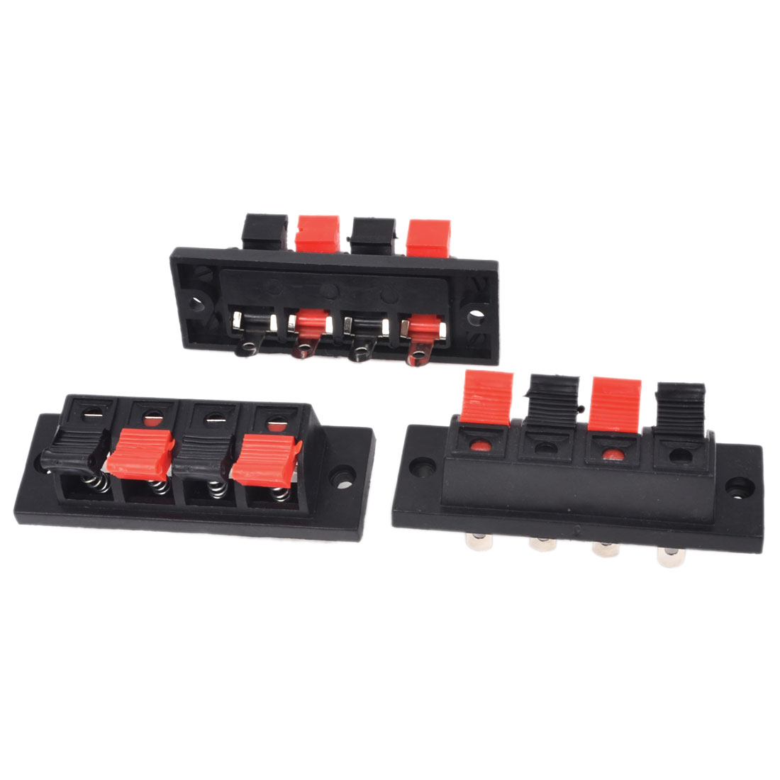 3Pcs 4 Way Large Stereo Speaker Plate Terminal Strip Push Release Connector Block