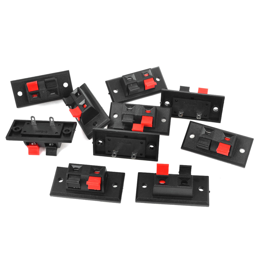 10Pcs 2 Way Large Stereo Speaker Plate Terminal Strip Push Release Connector Block