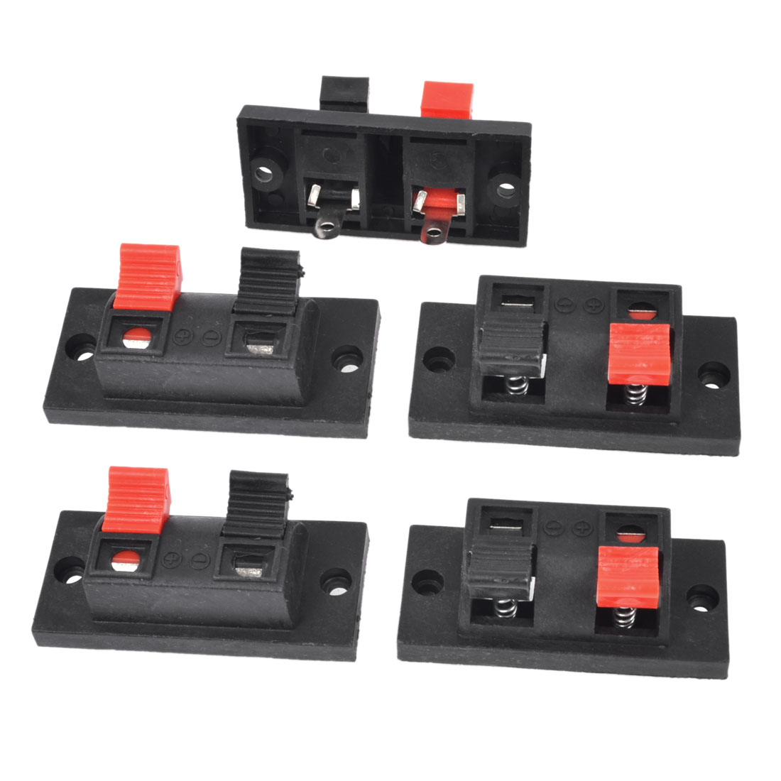 5Pcs 2 Way Large Stereo Speaker Plate Terminal Strip Push Release Connector Block