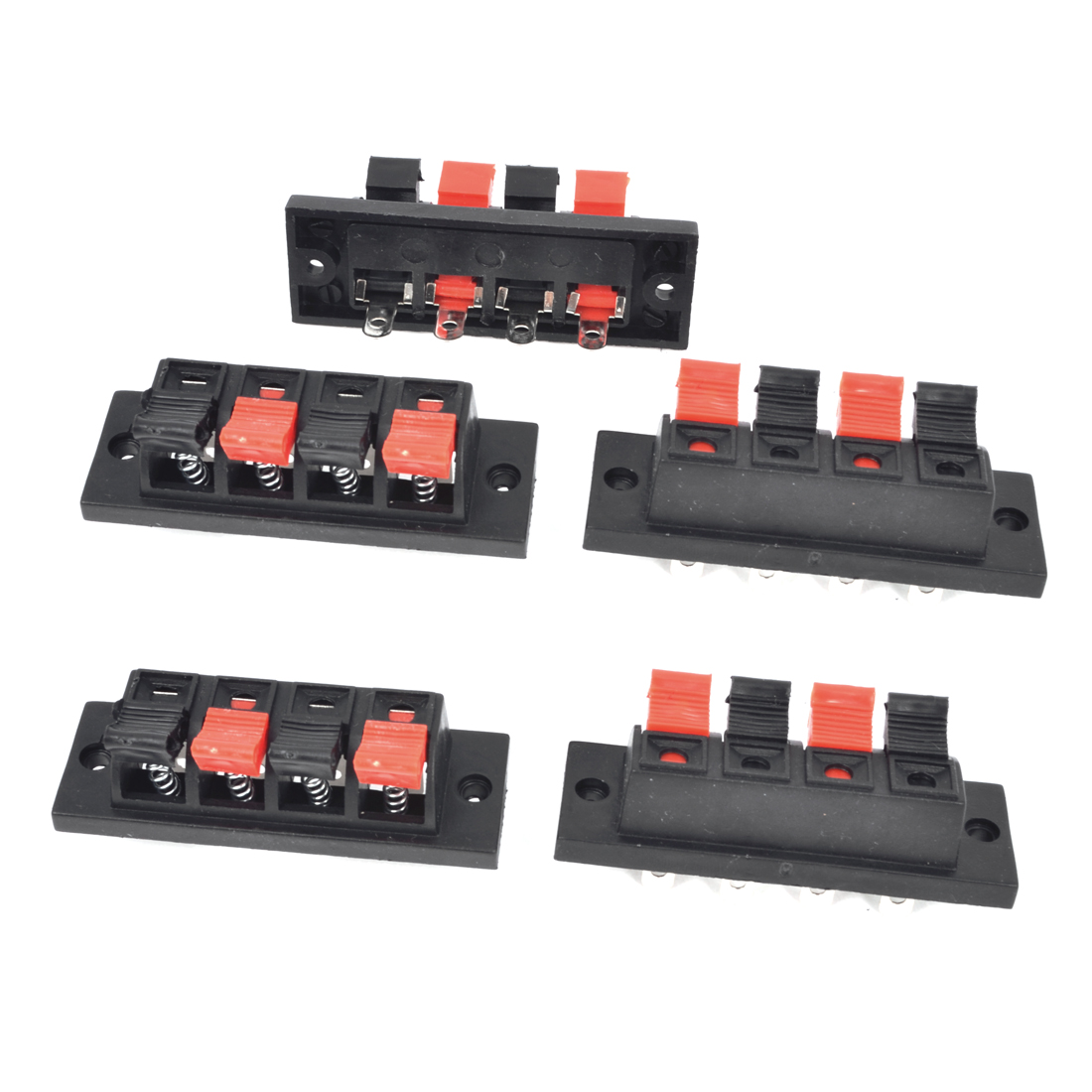 5Pcs 4 Way Large Stereo Speaker Plate Terminal Strip Push Release Connector Block