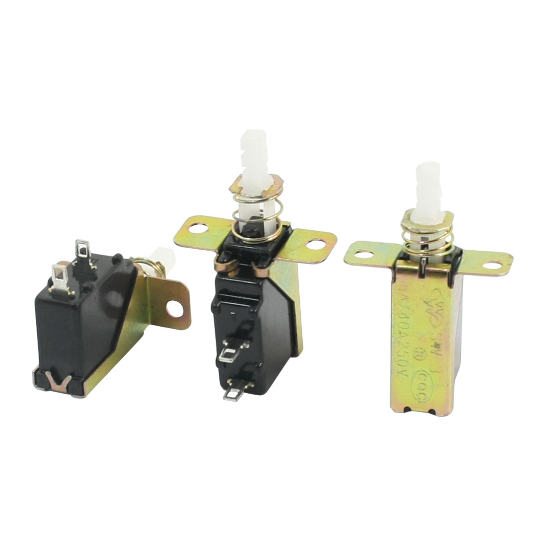 3 Pcs 2 Pin SPST Spring Loaded Locking Push Button Switch 5A/40A AC 250V