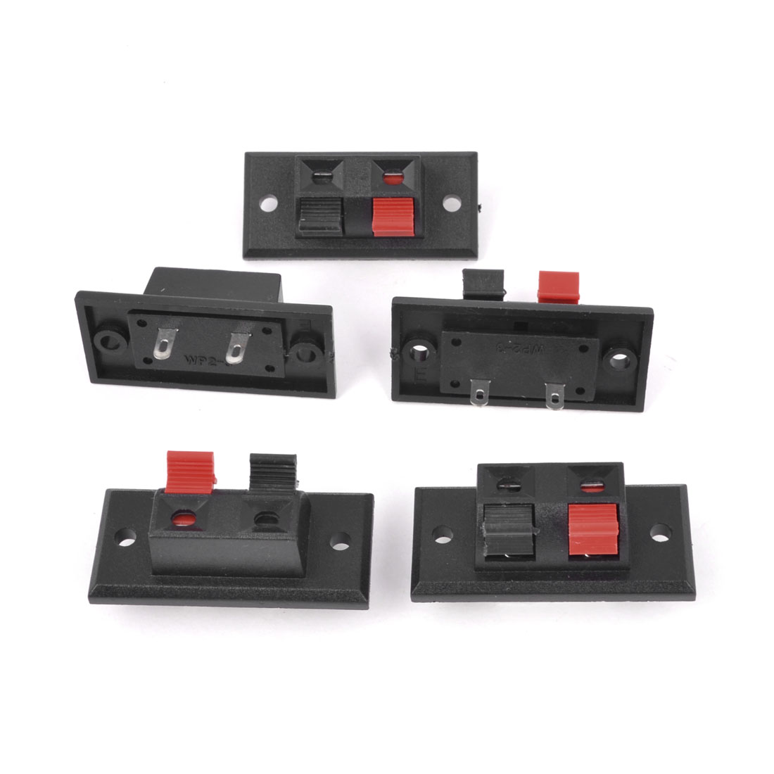 5Pcs 2 Way Large Stereo Speaker Plate Terminal Strip Push Type Connector Block